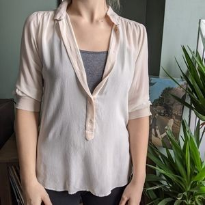 Wilfred 100% Silk Sheer Button Up Blouse
